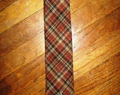 YVES SAINT LAURENT skinny men's plaid wool tie in coral, brown, gold, and green tweed.  great  combination