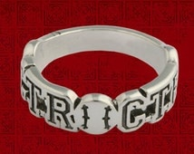 Sport CTR (Choose The Right) Ring in Solid Sterling Silver - Baseball CTR