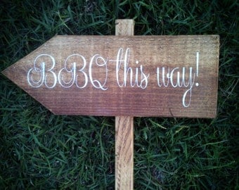 Wedding Sign, Directional Wedding Sign - BBQ This Way WS-107