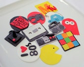 priority shipping Cupcake Toppers 80's 24 qty for 80 s party, 30th birthday, rubix cube, nintendo controller, I love 80's, boombox, mix tape