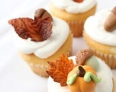 Autumn Fondant 12 Mini Pumpkins, 12 Acorns, and 12 Mini Leaves  - Fondant fall decoration great for cupcakes