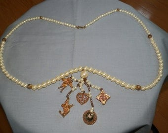 Vintage Carol Dauplaise Faux Pearl Necklace with Gold Tone Charms