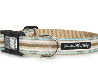 Striped Dog Collar, Light Blue and Tan, Preppy Dog Collar, Boy Dog Collar, Girl Dog Collar, 1 inch - Brentley