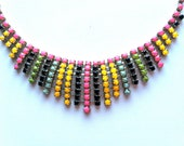 vintage neon painted rhinestone necklace