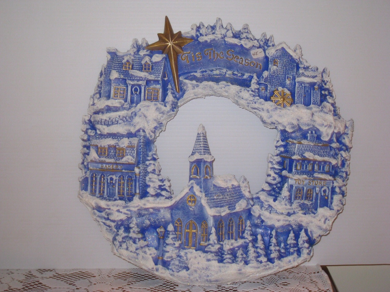 "Christmas, Ceramic Village Weath hand painted by Joan Davis, 15 1/2"""