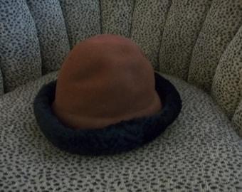 Brown Wool Hat with Lamb's Wool Brim