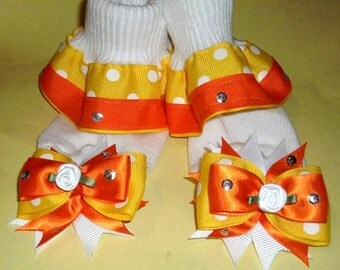 Baby scoks Yellow White Polka dots With Orange Ribbon Ruffle Socks Set .Size12-24
