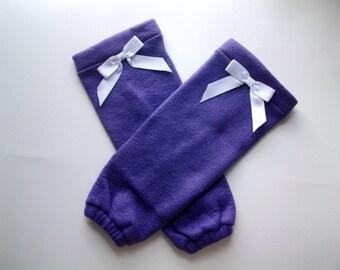 Baby leg warmer/purple and white toddler legwarmer