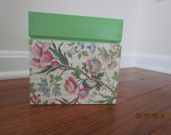 Green & Pink Floral Box  - Floral Papered Box with Green Trim