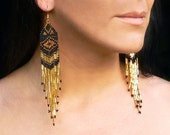 Native American Earrings Inspired. Geometric Black and gold Earrings. Shoulder duster earrings. Beadwork.