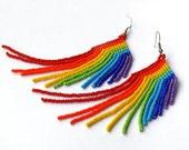 Rainbow Earrings. Beaded Long Earrings. Colorful Fringe Dangle Earrings. Beadwork
