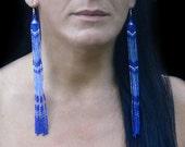 Very Long Earrings. Beaded Dangle Blue Earrings. Shoulder Duster Earrings. Beadwork