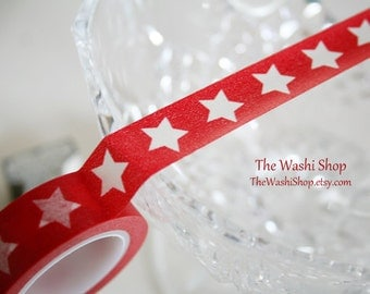Red Washi Tape with White Stars