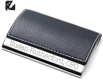 Personalized Black Leather Business Credit Card Holder Case, Custom Engraved Office Employee Gift, Engraved Business Card Holder, Attorneys