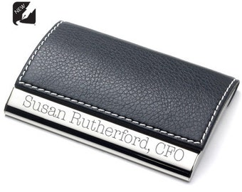 Personalized Black Leather Magnetic Business Credit Card Holder Case Custom Engraved