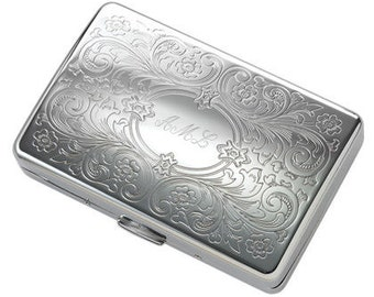 Personalized Long Paisley Double Sided Cigarette Case Custom Engraved