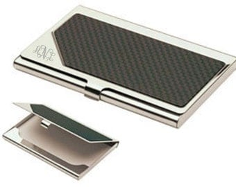 Monogrammed Carbon Fiber Business Card Holder
