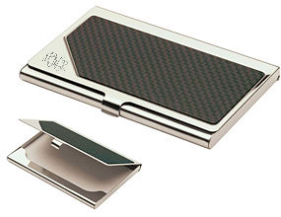 Monogrammed carbon fiber business card holder personalized zoom magicingreecefo Image collections