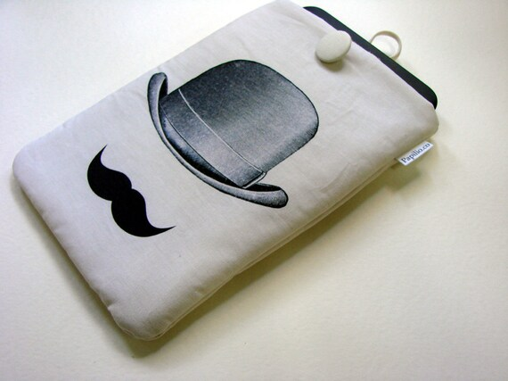 Mustache tablet cover, Nexus 7 case, Kindle Paperwhite sleeve, gentlemans hat, protective cover, gadget travel pouch, Sony Reader sleeve