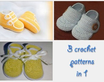 Booties crochet patterns collection 3 in 1 (HK... 4, 5, 9)