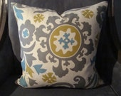 18x18 Modern Floral Throw Pillow-Ivory, Grey, Turquoise & Mustard-Front and Back Pattern