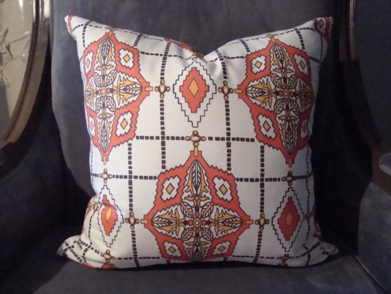 18x18 Chevron Throw Pillow-Orange, Brown and Ivory- Front and Back Pattern