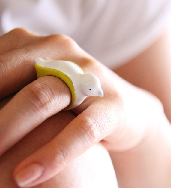 White and Yellow Enamel Bird Ring