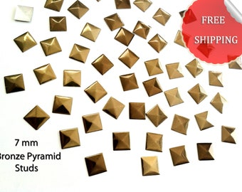 DIY Studs - 250 Bronze 7 mm Pyramid Square Studs - Iron On, Hot Fix, or Glue On