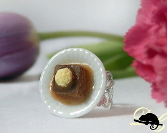 Sticky Toffee Pudding Ring (In Stock) -Filigree or plain style ring band now available-