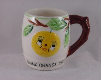 Vintage Children's Juice Mug - Drink Orange Juice - Made in Japan