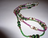 "Two Strand Beaded Necklace 16 "" Fuschia&Green faceted quartz"
