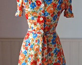 Vintage 1970's Orange & Blue Mini Dress/Blouse, Flowers, Women's Extra Small