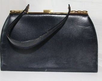 1960's Very Dark Navy Vintage Purse