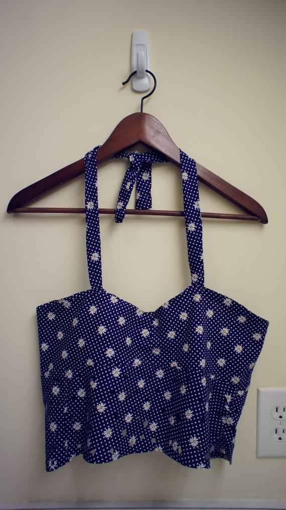 XS - S Handmade Navy Daisy Crop Halter with adjustable ties