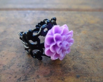 Purple Colored Black Filigree Adjustable Ring - Lilac Black Glossy Ring