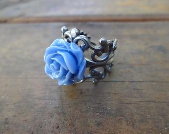 Blue Adjustable Silver Filigree Ring