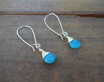 Valentine - Earrings Aqua Chalcedony Wire Wrapped Silver - Girlfriend Earrings