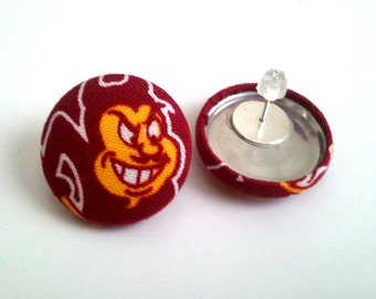 ASU sparky maroon and gold button earrings