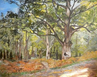 Replica of Monet's The Bodmer Oak, Fontainebleau Forest - 100% hand painted oil on canvas