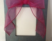 Silver Textured Wood Frame with Pink Glitter bow
