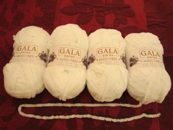 4 Gala Mixed Yarn - White - chenille
