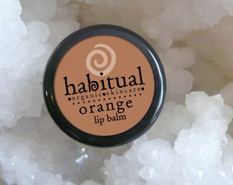 ORGANIC Lip Balm Pot - ORANGE - Handmade & 100% Natural / Orange flavored Soothing Chapstick - Great Healthy Green Gift - Chemical Free