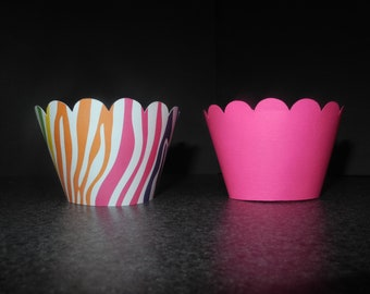 Bright Zebra Stripes Cupcake Wrappers- Set of 96  Purple Lime Green Hot Pink Leopard Cheetah FREE SHIPPING