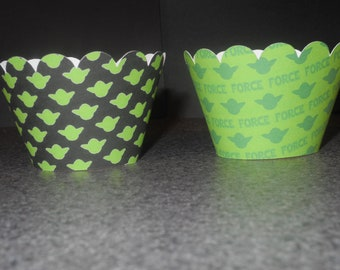 Yoda Star Wars Cupcake Wrappers- Set of 12  Birthday Party may the force be with you
