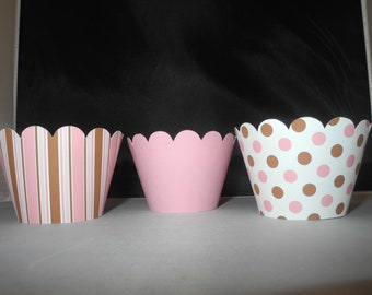 Baby Girl Baby Shower Girl Cupcake Wrappers  Set of 12 Brown and Pink Celebration