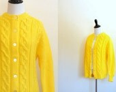 Vintage 1960's canary fisherman cardigan / yellow cable-knit button sweater