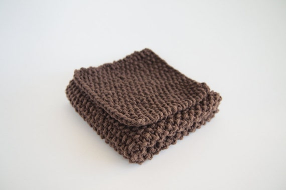 hand knit chocolate brown cotton dishcloth and scrubbie set