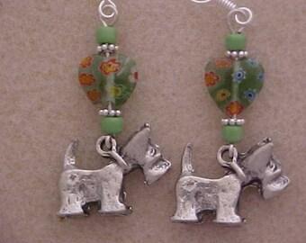 Scotty Dog Scotch Terrier Charm Heart Earrings with Orange & Green Millifiori Beads