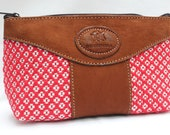 Very Cute Cotton Floral & Leather Cosmetic Pouch