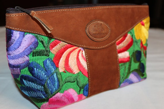 Big Colorful Clutch with Leather Trim